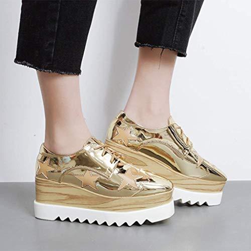 Cuña Dentro Ocio Aumento Salvaje Cuadrada Inglaterra 37 FF Mujeres Zapatos De LFF Delgado Gold Individuales Las Cabeza De PWx8q0XO