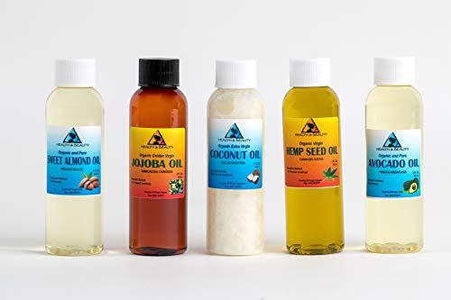 30% OFF LOT of Sweet Almond Oil, Jojoba Oil Golden, Coconut Oil Extra Virgin, Hemp Oil Unrefined, Avocado Oil Refined 2 oz (Best H&b Oils Center Hemp Oils)