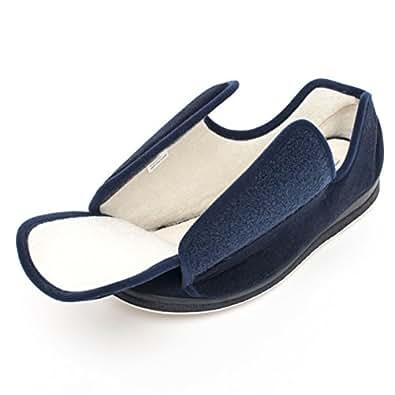 Amazon.com | Memory Foam Woman Wide Slippers/Edema Shoes Antimicrobial Premium Diabetic Slippers ...