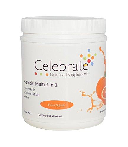 Citrus Fiber Supplement (Celebrate ENS Essential Multi 3 in 1 Drink Mix Multivitamin Calcium and Fiber - Citrus Splash - 60 Serving Supply)