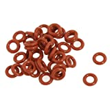 uxcell 50 Pcs Silicone O Ring Seal Washers 8mm x 4mm x 2mm Red