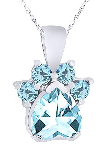 Wishrocks Simulated Aquamarine Paw Print Pendant Necklace in 14K White Gold Over Sterling Silver