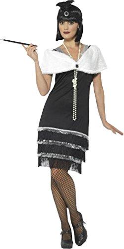 Flapper Costume Black Small (uk Dress (Black Flapper Dress Costume Uk)