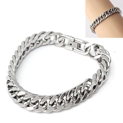 Janstore Titanium steel Men's Double Buckle silver Cuban Link Bracelete CHAIN 15mm 8.6