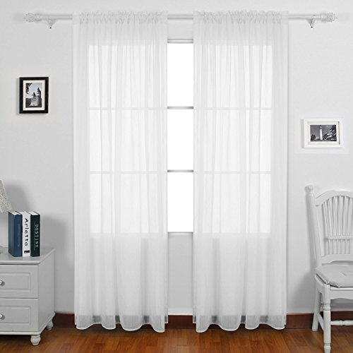 Deconovo Crushed White Sheer Curtains Rod Pocket Crinkled Voile Curtains for Study Room 52x84 Inch 2 Panels (Sheer 84 Inch Curtain Crushed)