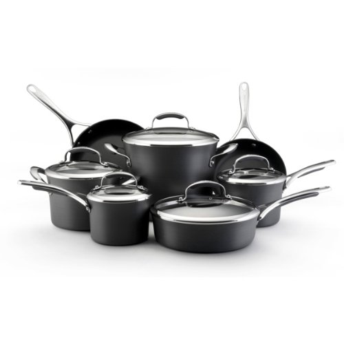 Kitchenaid Black Gourmet Cookware - KitchenAid Gourmet Hard Anodized Nonstick 12-Piece Cookware Set
