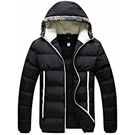 ZSHOW Men's Winter Thickened Puffer Jacket Hooded Cotton Quilted Coat Outerwear