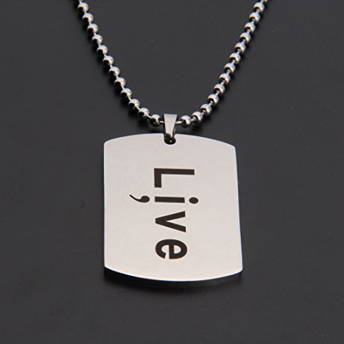 Dog Tag Necklace with Hand Stamped Live and Semicolon (Silver stainless steel)