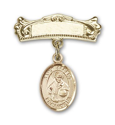 Religious Obsession Gold Filled Baby Badge with St. Albert the Great Charm and Arched Polished Badge Pin by Religious Obsession