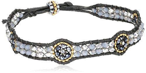 Station Bracelet Flower (Miguel Ases Hematite Flower Station Leather Slip-Knot Bracelet)