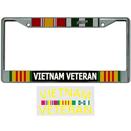 Vietnam Veteran License Plate Frame Bundle with Vietnam Veteran Decal/Sticker