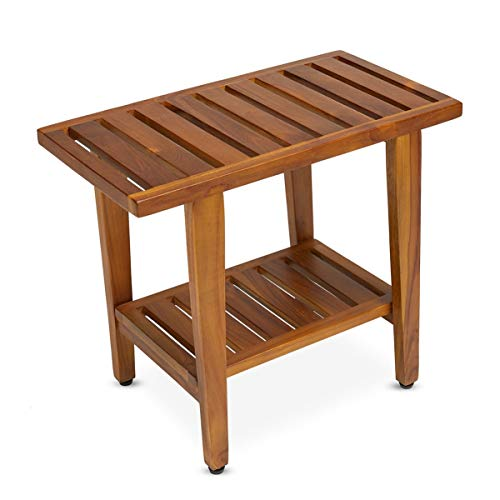 Teak Wood Shower Bench Stool for Bath & Spa (Fully Assembled), 21 inch, The Tori