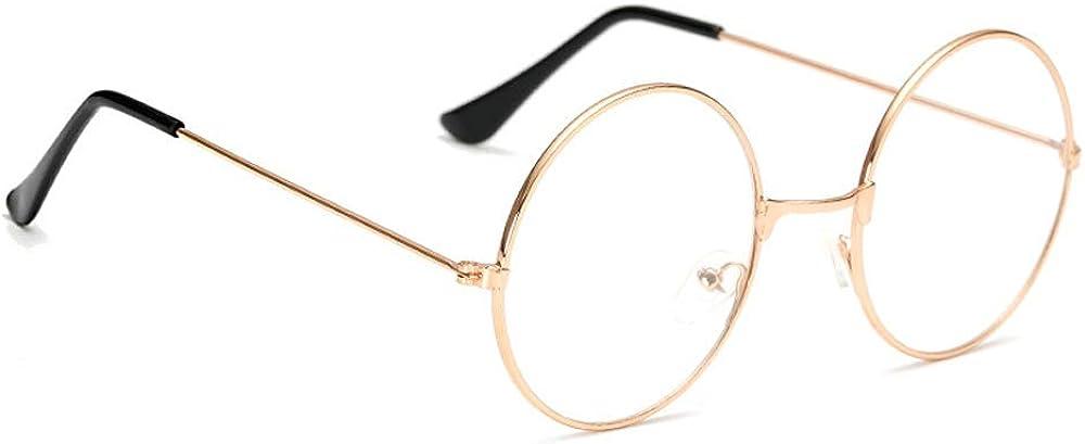 Marco de Metal Gafas Redondas Unisex Retro Fiesta de Lujo Gafas Glasses Lente Transparente Gafas Ultra Ligero para Cosplay Hombre y Mujer ZEVONDA Vintage Gafas Redondas Lentes Transparente