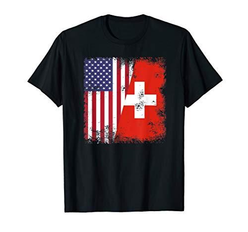 Half Swiss Flag T-Shirt | Vintage Switzerland USA -
