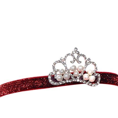 Trenton Newborn Baby Noble Crystal Crown Kids Girl Cute Hair Band Princess Headwear - B