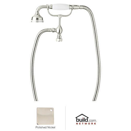 Pn Polished Nickel Porcelain - Rohl U.5380PN U.5380 Perrin And Rowe Tub Filler Hand Shower with White Porcelain Handle,, Polished Nickel by Rohl