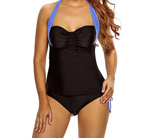 MYQueen Women Black Blue Halter Neck Tankini Swimsuit XL (Quirky Fancy Dress Ideas)