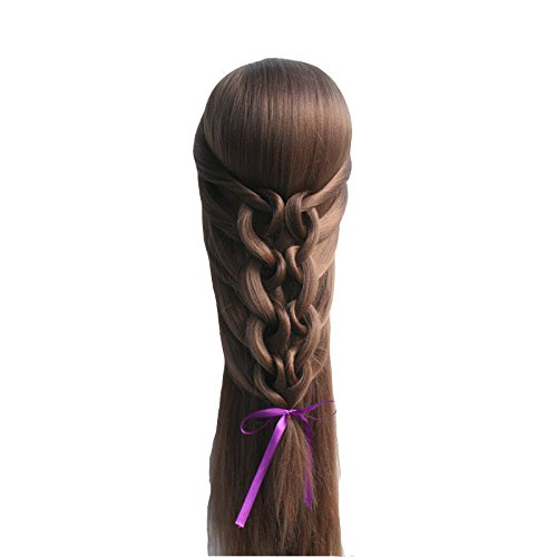 TOPBeauty Chocolate Brown Synthetic Hair Hairdressing Practice Training Head Doll Mannequin With Clamp