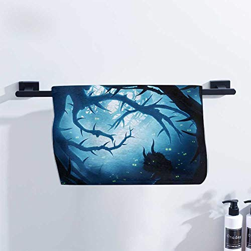 Mystic Decor Towel Animal with Burning Eyes in Dark Forest at Night Horror Halloween Illustration Pool Towels, Gym Towels & Hair Towels W20 x L20 Navy White