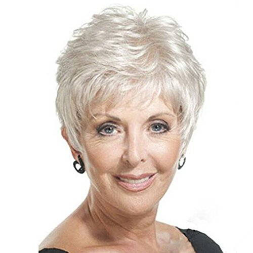 Y demand Mother Pixie Wig Short Straight Hairstyles White Wig For Old Women Wigs (White) -