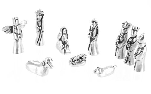 Nativity Set Mini Pewter Figurine 10 pc Set w/ Velvet Pouch