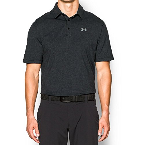 Under Armour Men's Charged Cotton Scramble Polo Shirt, Black /Black, (Under Armour Cotton Polo Shirt)
