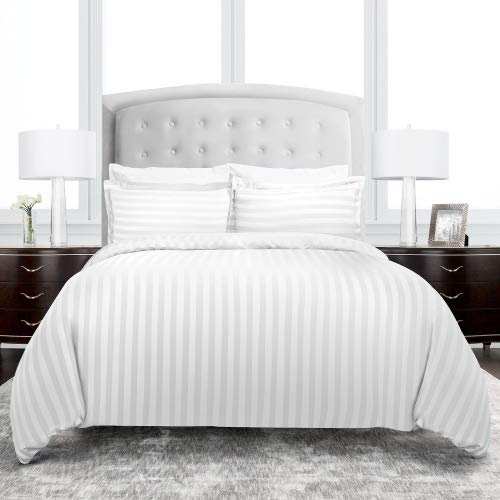 (Beckham Hotel Collection Dobby Striped Duvet Cover Set - Luxury Soft Brushed Microfiber with Matching Shams - Hypoallergenic -King/California King - White )