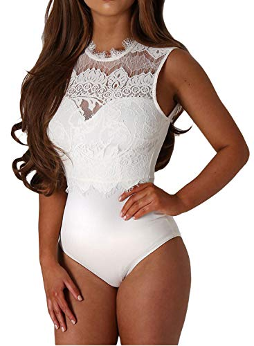 Shawhuwa Womens Sexy Floral Lace High Neck Sleeveless Bodysuit Clubwear L - Bridal Blouse