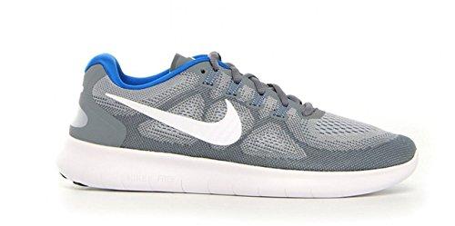 Nike Mens Free Rn 2017 Hardloopschoenen (8.5, Grijs / Wit / Blauw-m)