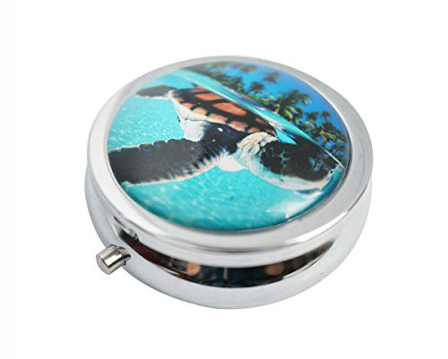 - Hiutong Green Sea Turtle Swimming Custom Round Silver Glass Pill Case Metal Decoration Box Unique Gift