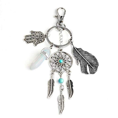 Gudelaa Dream Catcher Keychain with Turquoise Key Ring Tassel Leaf Pendant Keyring