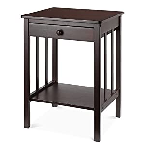 HOMFA Bamboo Night Stand End Table with Drawer and Storage Shelf Multipurpose Home Furniture, Dark Brown