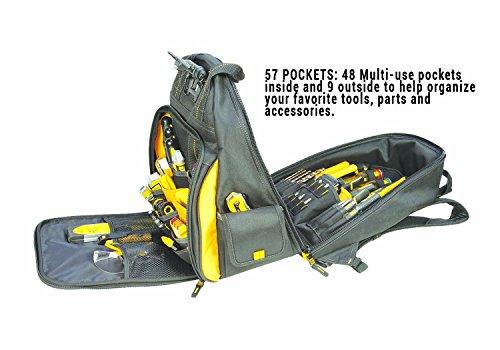 DEWALT DGL523 Lighted Tool Backpack Bag, 57-Pockets