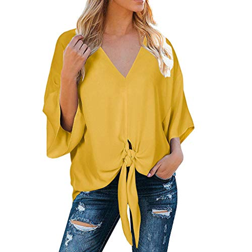 (Eoeth Women's Chiffon Summer V Neck Twist Knotted Bat Wing Blouse Casual Tops Lightweight Breathable Cozy T-Shirts Yellow)