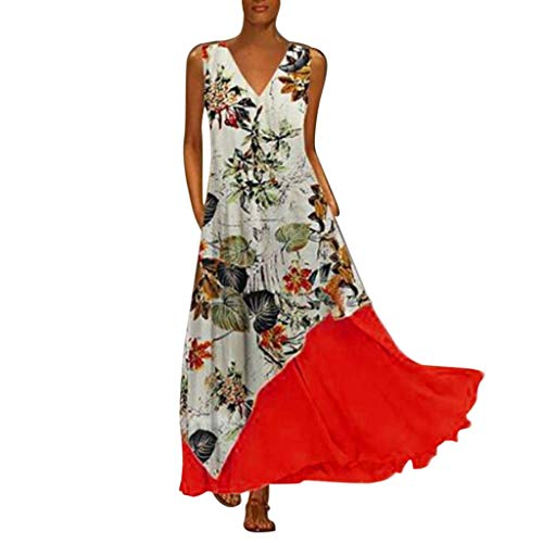 Plus Size Dresses for Women Boho Long Short Sleeve Crew Neck Summer Casual Beach Long Maxi Tank Dress with Pocket (Furniture Outdoor Cyber Deals Monday)