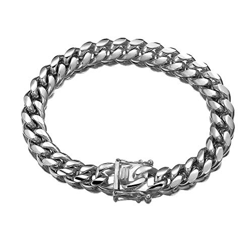 (Jewelry Kingdom 1 Bracelets for Men Sterling Silver Chain Miami Cuban Link Chain for Men's Jewelry, Bracelet for Women, 316L Stainless Steel(8inches Length and 12MM Width))
