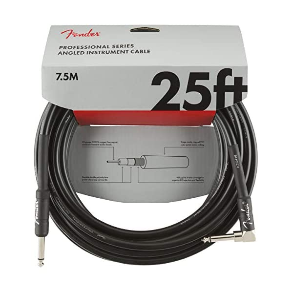 Fender Professional Series Instrument Cable – 25 ft – STR/ANG – Black