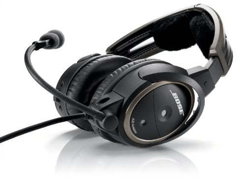 Bose® A20 Aviation Headset (Aircraft-powered  NO Bluetooth, Electret mic, Straight cord, 6-pin plug)