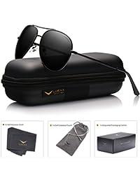 luenx Aviator anteojos de sol polarizadas para hombres & mujeres con Caso–400UV Mirrored 58mm