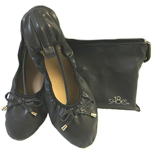 Schuhe 18 Frauen Faltbare Tragbare Reise Ballett Flache Schuhe w / Passender Tragetasche Marine 1180 A