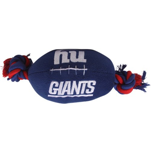 NFL New York Giants Pet Football Rope Toy, 6-Inch Long Plush Dog Toy with Inner Squeaker by Pets First