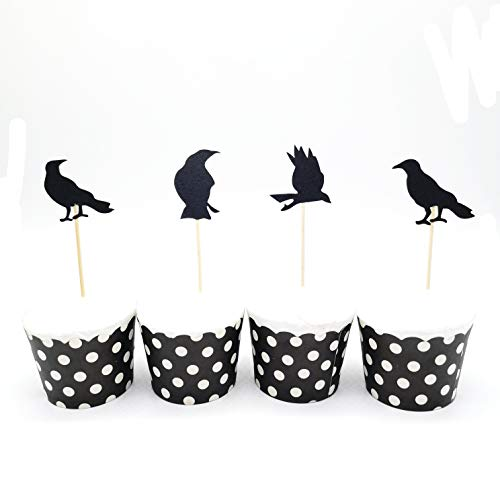 (HEMARTY 12 Black Raven Halloween Cupcake Toppers Summer Cupcake Topper Tropical Party Flamingo)