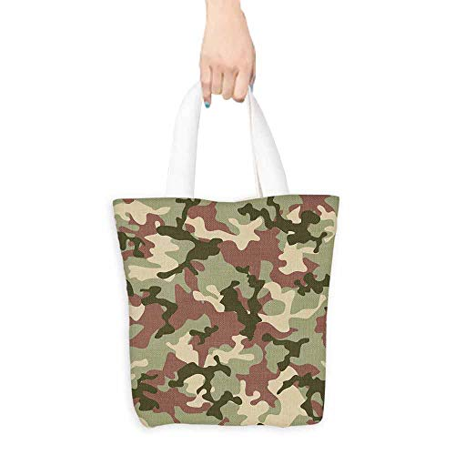 Camo Canvas Grocery Shopping Bags with Handles Illustrated Green Camouflage in Forest Colors Hunter Combat Dried Rose Dark Green Army Green W17.7x15.7