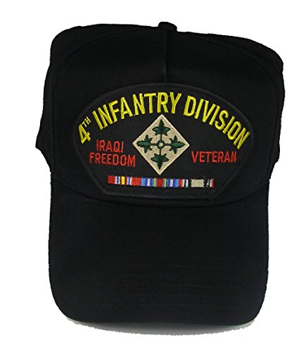 4th INFANTRY DIVISION IRAQI FREEDOM VETERAN HAT with ribbons 4th ID crest cap - BLACK - Veteran Owned ()