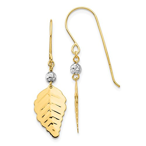 (14k Two Tone Gold Stamped Leaf Shepard Hook Earrings)
