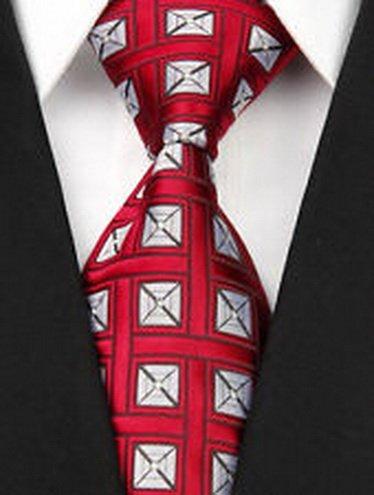 Lattice Stripe Silk (jacob alex #41355 Red White Lattice Stripe New Silk Classic Elegant Woven Man's Tie Necktie)