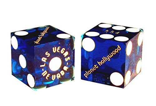 Pair (2) Planet Hollywood Casino Las Vegas 19mm Authentic Table-Played Dice (Blue)