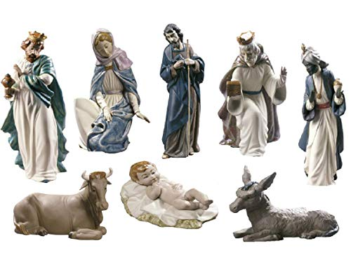Lladro Nao 8-Piece Porcelain Gres Nativity Scene - Baby Jesus, Virgin Mary, Saint Joseph, King Balthazar Jug, King Gaspar Cup, King Melchior Chest, Donkey, Calf