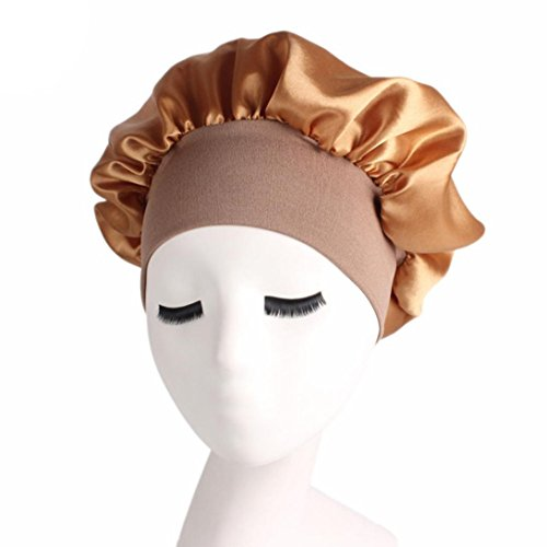 Women's Satin Solid Wide-Brimmed Hair Band Sleep Cap Chemotherapy Hat Hair Cap Laimeng_World (Gold) (Satin Skimmer)