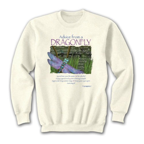 Sweater Dragonfly (Advice From A Dragonfly - Large Sweatshirt Sand, Novelty Gift Apparel)